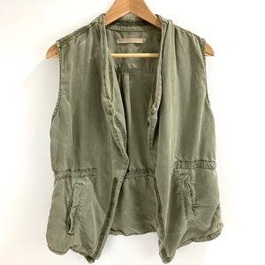 Max Jeans Green Tencel Vest Draped Open Front